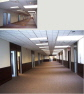 Zydus Renovation Before and After: Main Hallway to Offices and Conference Rooms
